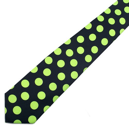 Green and Black Polka Dot Tie Necktie Unisex