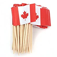 SODIAL(R) Lot of 50 Pcs Mini Wooden Toothpick with Flag for Decor of Party Fruit Pastry - Canada