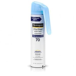Neutrogena Ultra Sheer Body Mist Fullreach Sunscreen Spray Broad Spectrum SPF 70, Lightweight & Water Resistant, Oil-Free & Non-comedogenic, 5 oz(Pack of 3)