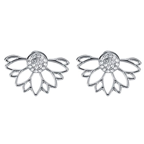 18K Gold & S925 Silver Plated Two-tone CZ White Crystal ball With Sunflower Women Stud Earrings (White)