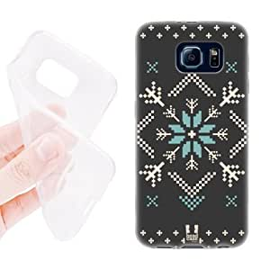 Head Case Designs Charcoal Fair Isle Winter Prints Soft Gel Back Case Cover for Samsung Galaxy S6 G920, Galaxy S6 Duos