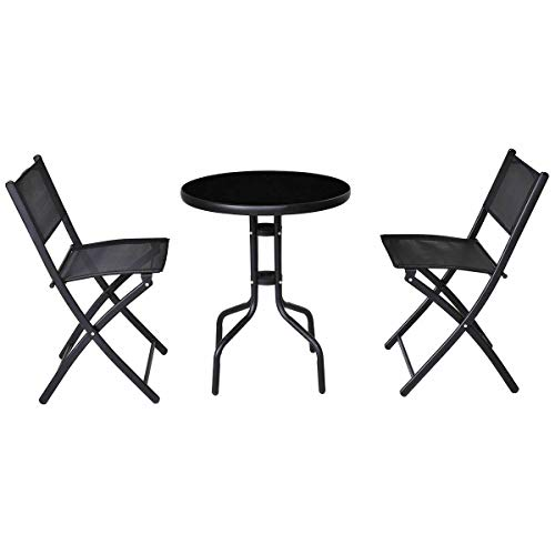 (Lapha' 3 Pieces Bistro Table Dining Set Coffee Shop Garden Backyard Pool Beach Table Folding Chairs Outdoor Patio Furniture)