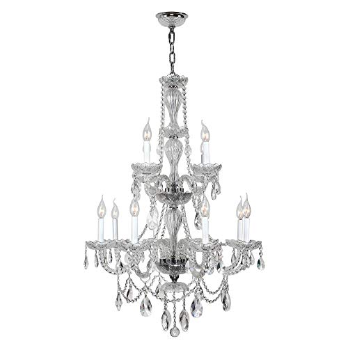 Worldwide Lighting Provence Collection 12 Light Chrome Finish and White Crystal Chandelier 28