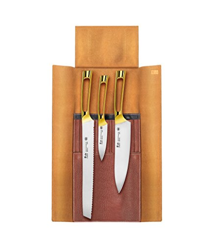 Cangshan N1 Series 62618 4-Piece Leather Roll Knife Set, Gold Plated Handle
