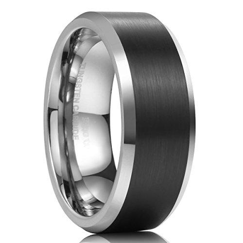 King Will CLASSIC 8mm Anillo de bodas para hombre Anillo de carburo de tungsteno Negro cepillado Mate Acabado Comfort Fit 7