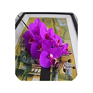 loveinfinite 5Pcs Artificial Flowers Real Touch Moth Orchid Butterfly Orchid for New House Home Wedding Festival Decoration Party Hotel,Purple 41