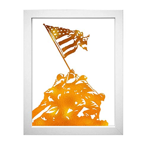 (Inspirational Home Wall Art Decor - Raising the Flag on Iwo Jima Motivational 8x10 Unframed Gold Foil Print)