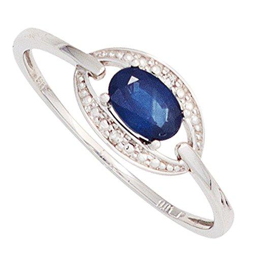 Bague bague Femme avec Saphir Bleu Saphir & Diamants brillants en or blanc 585