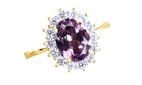 Jewel Zone US Simulated Alexandrite & White Sapphire CZ Solitaire Engagement Ring in 925 Sterling Silver (2.5 Cttw)