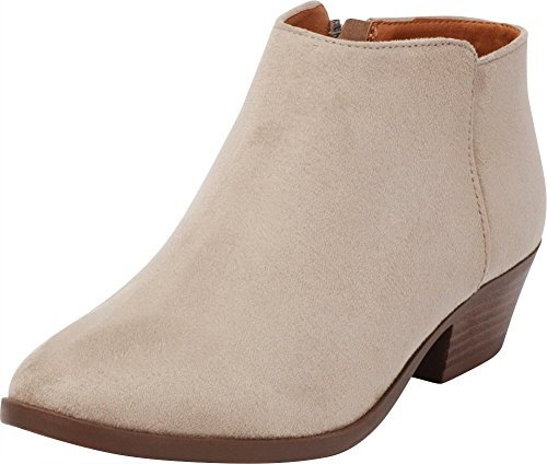 Cambridge Select Women's Western Chunky Stacked Block Low Heel Ankle Bootie,8,Clay IMSU (Springs Clays Sandy)