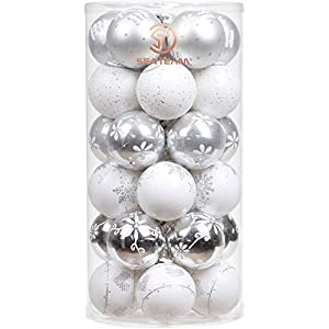 Sea Team 60mm/2.36″ Delicate Contrast Color Theme Painting & Glittering Christmas Tree Pendants Decorative Hanging Christmas Baubles Balls Ornaments Set – 30 Pieces (Silver & White)