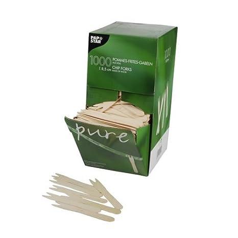 papstar scatole  1 scatola di cartone Papstar=6 x 1000 Pommes-Frites-forks, legno 8,5 ...