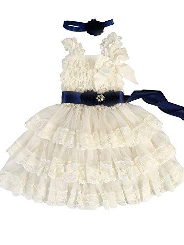 Rosy Kids Girl's Vintage Chic Flower Girl Lace Dress Flower Sash Hair Flower, Ivory Dress Navy Blue Sash Rustic Flower, S