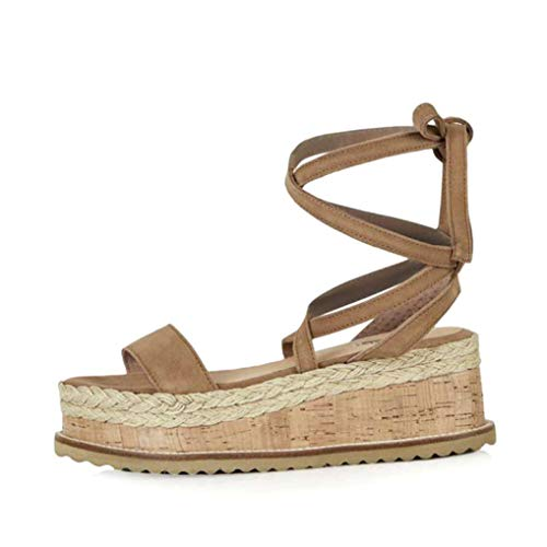 Women Cross-Strap High Heels Sandals Straw Shoes Thick Platform Wedges Shoes Roman Sandals Apricot