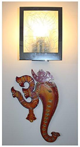 Ethnic Handmade Indian Art Wall Hanging of God Ganesha with Spiritual Om – Orange  Red Combination Colours
