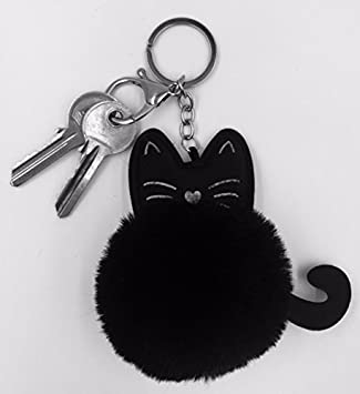 07429fcd3a Fluffy Cat Kitten Mini Key chain Faux Rabbit Fur Ball Bag Key Ring Fashion  Jewelry Plush