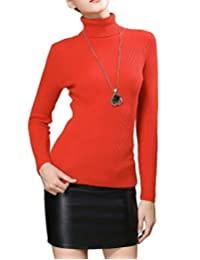 Fengtre Women's Turtleneck Cashmere Knit Elastic Long Sleeve Pullover Sweater, 19 Colors