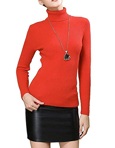 Fengtre Turtleneck Pullover Sweater, Womens Petite Cashmere Stretchy Basic Knit Top,Bright Orange S