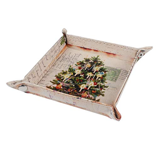 KathShop Retro Merry Christmas Tree Gift Present Ornament PU Leather Mens Catchall Change Key Wallet Coin Box Storage Tray Valet