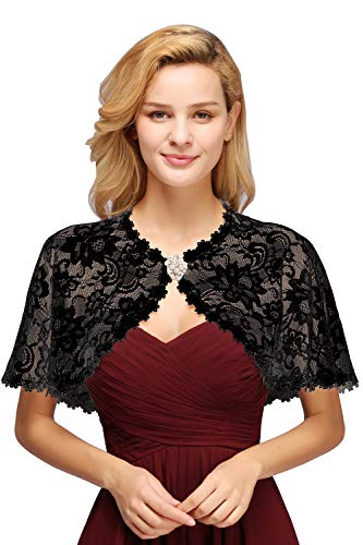 - Vintage Lace Tulle Wedding Party Shrug Deco Bolero Scarf Shawls and Wraps,Black