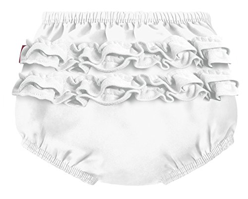 City Threads Baby Girls' Ruffle Swim Diaper Cover Reusable Leakproof for Swimming Pool Lessons Beach, White, 12/18m ()