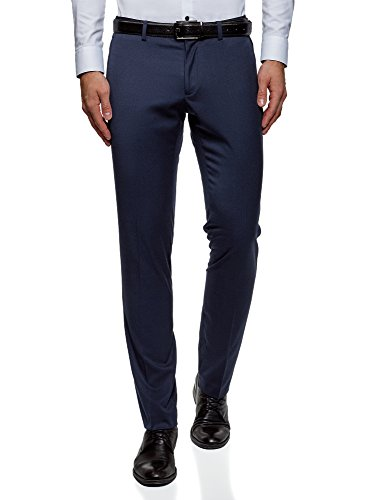 oodji Ultra Men's Slim-Fit Trousers with Decorative Pockets, Blue, US 29/EU 38/S - Decorative Pockets