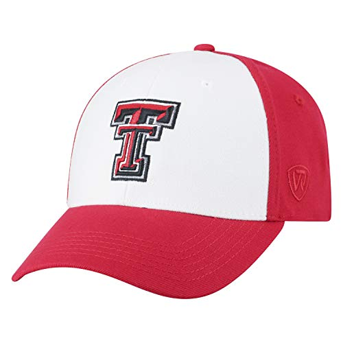 Top of the World NCAA-Premium Collection Two Tone-One-Fit-Memory Fit-Hat Cap- Texas Tech Red -