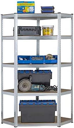 Estantería de acero galvanizado para garaje de 175 kg por estante (5 niveles 1800 mm de alto x 900 mm/698 mm de ancho x 400 mm de profundidad) + ...
