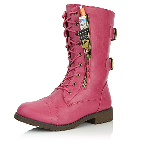 (DailyShoes Women's Military Lace Up Buckle Combat Boots Mid Knee High Exclusive Credit Card Pocket, Pink Hearts, 8.5)