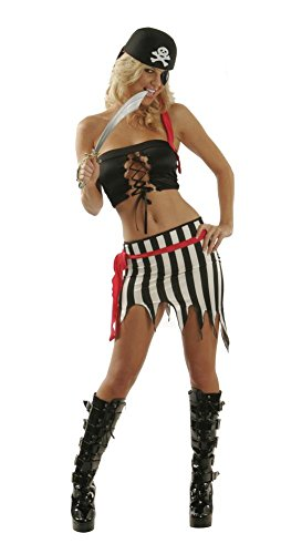 Sexy Adult Halloween Theme Cosplay Rave Party Pirate Swashbuckler Buccaneer Marauder Raider Costume for Women M (7-9) Print Shown - Female Pirate Costumes Ideas