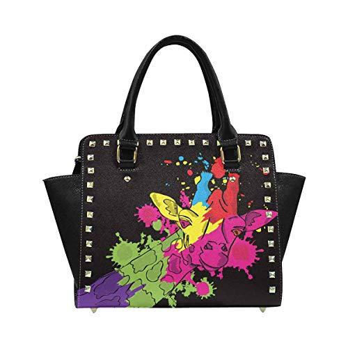 InterestPrint Women's Watercolor Giraffe for Fashion Print Satchel Handbags Purse Messenger Bag