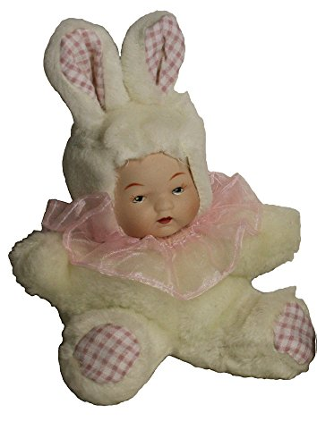 Porcelain Sitting Doll Baby (6 Inches) in Cute Bunny Rabbit Cloth Costume Pink Best Gift for All