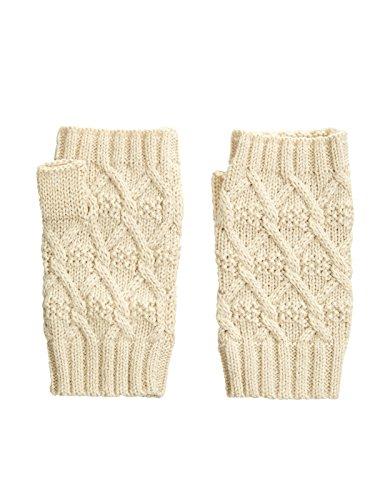 Accessorize Womens Metallic Soft Diamond Knit Cut Off Gloves