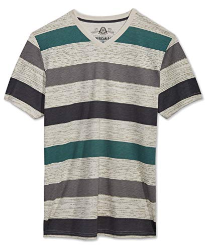 American Rag Mens V-Neck Marled Striped Tee T-Shirt Small S Vintage White