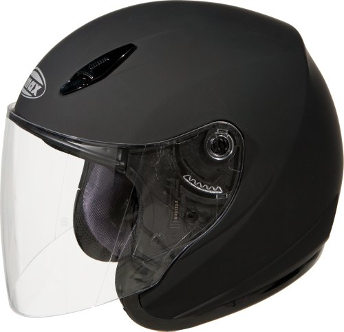 GMAX GM17 Unisex-Adult Open Face Motorcycle/Scooter Street Helmet (Flat Black, Small)