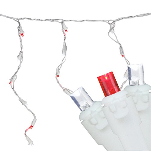 Northlight Set of 100 Red and Pure White LED Wide Angle Icicle Christmas Lights - White Wire
