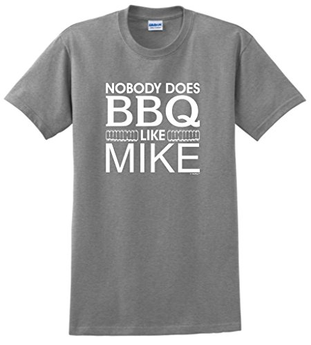 ThisWear Customized Dad Gifts Personalized Nobody Does BBQ Like Your Name Custom T-Shirt Large SpGry