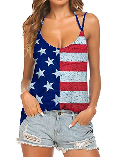 Tobrief Strap Top Backless American Flag Shirt Women Patriotic Sleeveless Shirts((American ()
