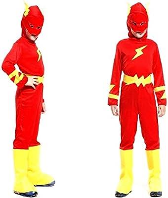Disfraz flash infantil carnaval superhéroe color rojo talla l 7/8 ...