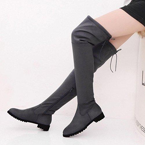 Gris Recortar altas LMMVP tobillo de mujer Botas Gris Zapatos Casual Plano Alto Delgado mujer rodilla de Hebilla Sobre la Rojo para negro Botas Bwxqdd46