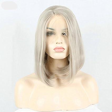 xiweiya corto Bob pelo plateado Platinum Blonde encaje encaje en la parte delantera Pelucas sintéticas Ash
