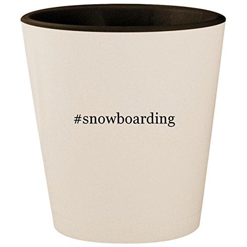 - #snowboarding - Hashtag White Outer & Black Inner Ceramic 1.5oz Shot Glass