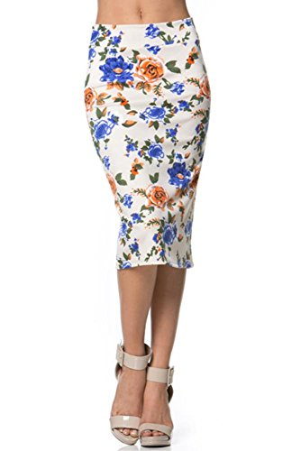 Women's Below the Knee Pencil Skirt for Office Wear - Made in USA Ivory/Blue/Orange Floral Large