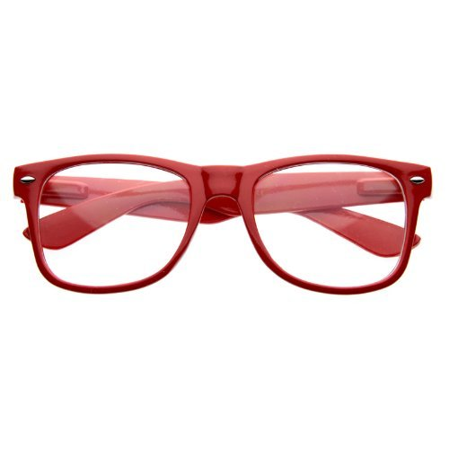 zeroUV - Standard Retro Clear Lens Nerd Geek Assorted Color Horn Rimmed Glasses - Red Glasses Rimmed