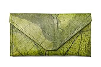 Leaf Leather Envelope Clutch - Handmade Women's Purse Wallet - Green
