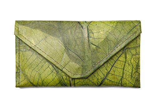 Leaf Leather Envelope Clutch Wallet - Handmade Womens Purse, Pockets, Zip Pouch - ()