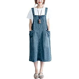 Innifer Overall Pinafore Dress Skirt/Women's Loose Casual Strap Jeans Denim Overall Dress