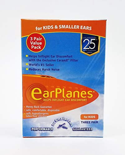 Original Children's EarPlanes by Cirrus Healthcare Ear Plugs Airplane Travel Ear Protection 3 Pair BONUS VALUE PACK by Earplanes