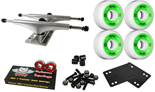 上院議員アフリカ方法論Owlsome 5.0 Polished Aluminum Skateboard Trucksボーン54 mmホワイトホイールコンボセット
