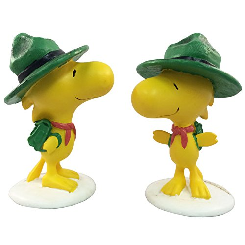 """Homestyles #52141 2 Piece Set of Woodstock Scout 4"""" Collectible Figures Painted from The Snoopy Peanuts Garden Statue Collection"""